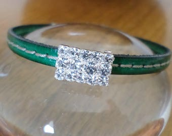 Green quilted leather rhinestone bracelet