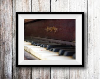 Antique Piano Wall Art Print -- Fine Art landscape photography, Vintage, Music, Home Decor, by HeatherRobersonPhoto