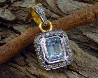 1.14 CT Gemstone Real DIAMOND, Blue Topaz Sterling Silver Yellow Gold Plated Pendant, White Diamond