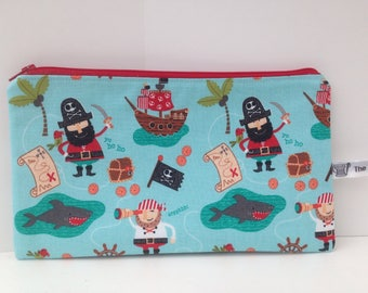 Pirates fabric pencil case; storage pouch; zipped wallet, treasure maps, pirate ships, sharks, gifts for boys.
