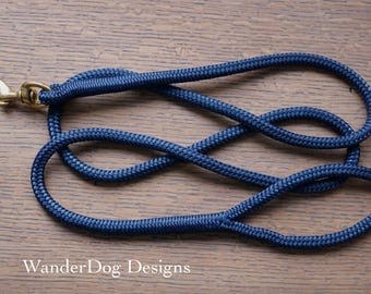 Navy Blue Leash ~ Rope Dog Leash ~ Custom length and snap ~ Soft and durable ~ Customizable ~ Adventure dog leash ~ Daily dog walk