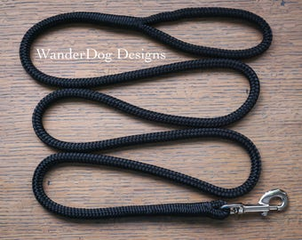 Black Rope Leash ~ Dog Lead ~ Custom length and snap ~ Soft and durable ~ Customizable ~ Classy dog leash ~ Hiking dog leash