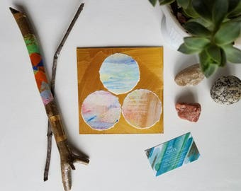 "Pastel Rainbow + Gold Collage // watercolor. acrylic. original fine art. wall art. // 6x6 // ""Reverie. 8"""