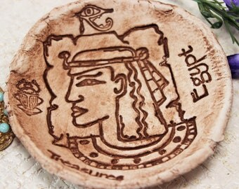 Ancient Egypt, Clay bowl, Rustic ring dishes, Egyptian decor, Trinket bowls, Trinket dish, Hand painted, Scarab, Eye of Horus, Cave painting