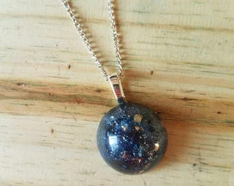 Mini Ocean Blue Globe Drop Necklace