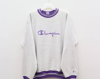 Vintage CHAMPION Sportswear Big Logo Gray Sweater Sweatshirt Size L