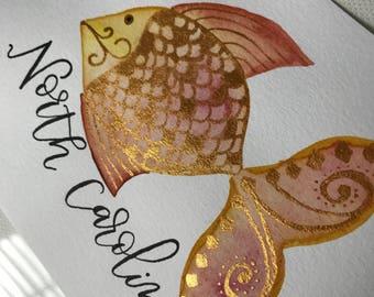 4x6 | Watercolor | Gold | Fish | Print | North Carolina