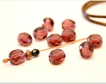 6 round faceted Amethyst Czech glass beads