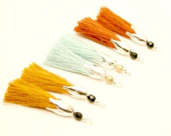 6 tassels, Camel, Brown, rust, mint, silverplate