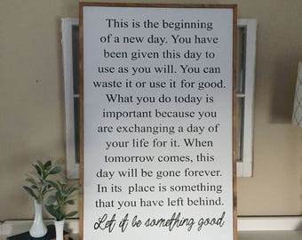 """This is the begining of a new day wooden sign / farmhouse sign / handmade / woodsign / rustic / fixer upper style sign / 26"""" x 40"""""""
