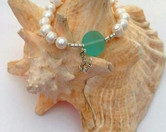 Freshwater Pearl Anchor Bracelet