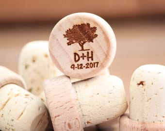 Rustic Wedding Favors, Personalized Wedding Favors, Engraved Wine Stoppers, Farmhouse wedding favors, Bulk Wedding Favors