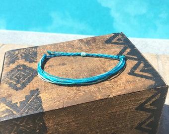 Caribbean Waters  Basic Stackable Bracelet, Wax String Bracelet, Friendship Bracelet, Waterproof Bracelet
