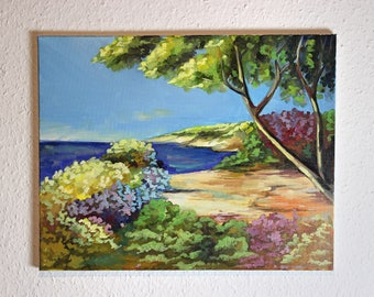 Oil Painting on Canvas - Expressive Landscape Painting, Bright Seaside Tree Contemporary Painting