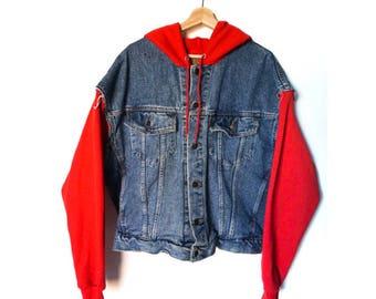men's vintage denim jacket + Champion hoodie