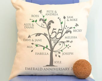 Personalised Emerald Anniversary Family Tree Cushion