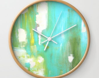 Blue Modern Wall Clock with Battery and Wood, Yellow Abstract Art Clock, FREE SHIPPING