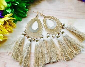 Silk Tassel earrings/ Gold Earrings/ Chandelier Earrings/ Long Earrings/ Fashion Earrings/ Boho-Chic earrings/ Statement Earrings/ Pendants