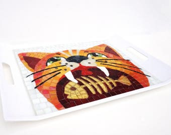Glass Mosaic Serving Tray Cat with a fish