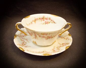 Haviland Limoges Schleiger 145 Bouillon Bowl and Saucer