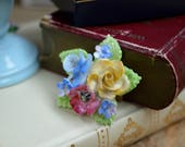 Vintage 1950s Porcelain Brooch Floral Brooch Porcelain Brooch Gifts for Her Summer Accessories Vintage Brooch