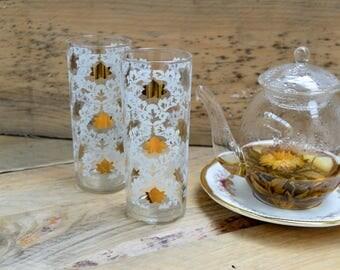 2 Vintage Glasses, Vintage Tumbler, Vintage Garden Party, Summer Dinner Wear, Gifts For Her, Wedding Gifts