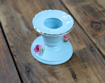 1950's Antique Bone China Candlestick Holder, Pale Blue Candlestick Holder, Candle Holder, Gifts for Her, New Home Gifts, Floral