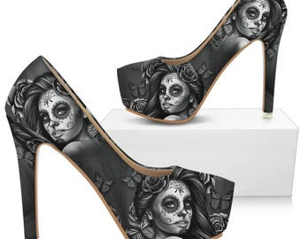 Women's Beige Calavera Heels