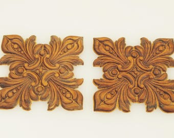 Square Wood Appliques 3 X 3 Inches 2 Pieces