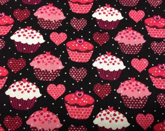 Pink/ Red/ Glitter Heart Cupcakes Cotton Fabric