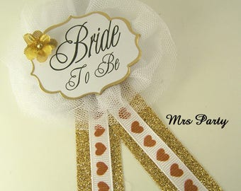 Gold Bride To Be Corsage Bridal Shower Badge Gold Bride To Be Pins Bridal Shower Pins