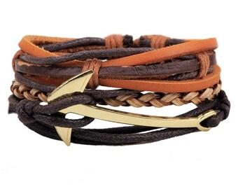 Nautical Anchor Leather Bracelet