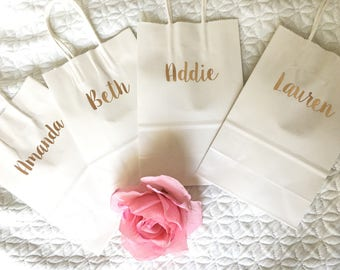 Rose gold personalized Bridesmaids gift bags- rose gold gift bags- wedding party gift bags- bridesmaid gift bags- personalized bridesmaid gi