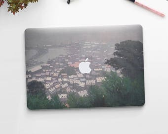 "Felix Vallotton, ""Honfleur in the Mist"". Macbook Pro 15 decal, Macbook Air 13 skin, Macbook 12 sticker. Macbook Pro sticker Macbook skin Art"