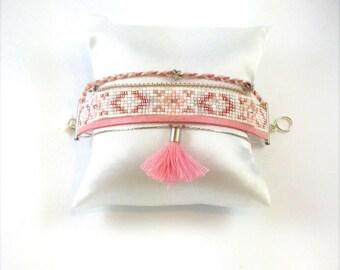 Cuff Bracelet with pink and white Miyuki beads