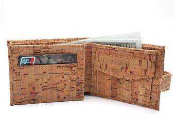 Rustic natural cork men cork wallet vegan wallet handmade casual wooden wallet from Portugal Bag-200
