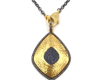 Short diamond gold and sapphire diamond necklace, Pave diamond necklace, Layer necklace, Diamond chain