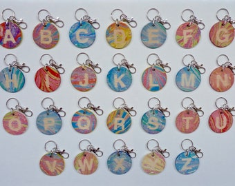 Marbled Letter Keyring . Wooden Keyring . Birthday Gift . Handmade . Unique . Multi Coloured