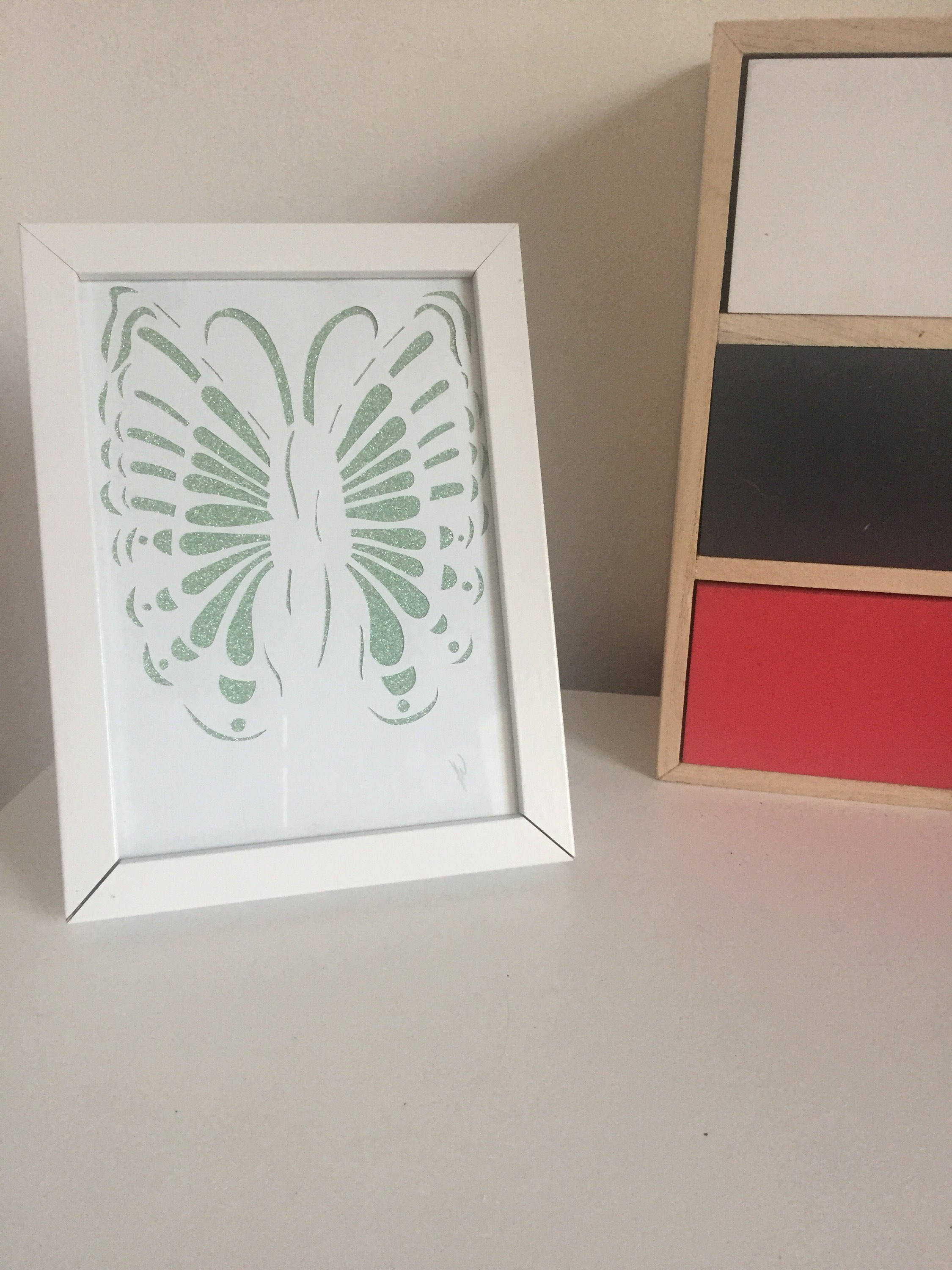 Unique glittery green butterfly papercut//new home gift//bridesmaid ...