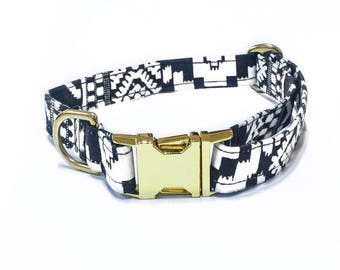 Dogcollar Black and white Gold metal buckle