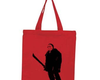Jason Vorhees Friday the 13th Horror Canvas Tote Bag Market Pouch Grocery Reusable Halloween Merch Massacre Black Friday Christmas