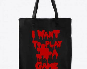 I Want to Play a Game Jigsaw Saw Horror Canvas Tote Bag Market Pouch Grocery Reusable Halloween Merch Massacre Black Friday Christmas
