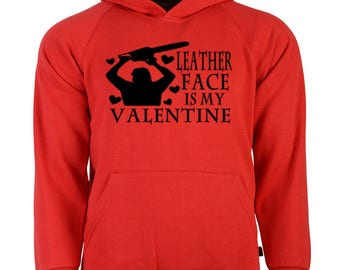 Texas Chainsaw Massacre Leatherface Valentine's Day Unisex Hoodie Pullover Sweatshirt Sizes Colors Custom Horror Halloween Merch Massacre