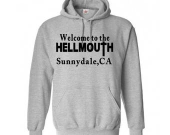 Buffy the Vampire Slayer Hellmouth Sunnydale Unisex Hoodie Pullover Hooded Sweatshirt Sizes Colors Custom Horror Halloween Merch Massacre