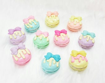 Mini Macaroon 10 pcs. Mix Color / Polymer Clay / Charm / Cabochon / Kawaii deco / Sweet deco