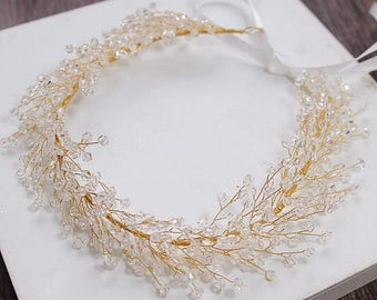 Gold beaded hair wreath