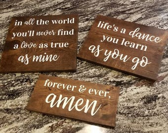 Shabby Chic Country Music Inspired Wooden Signs - Life's a Dance + I Cross My Heart - Anniversary, Birthday, Wedding Gifts