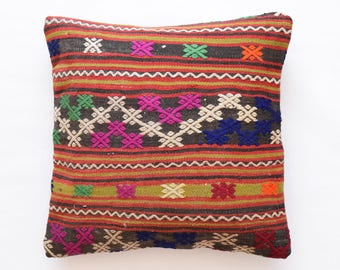 "Kilim rug pillow cover 18""x18"" (45x45cm) 011"