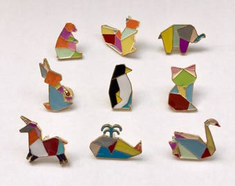 Origami animal pins made of enamel