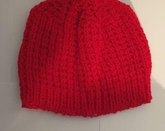 Vibrant Red Crochet Skull Cap